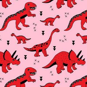 Cool Scandinavian kids dino friends dinosaur pattern girls pink red