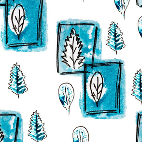 Winter gouache sketch  leaves like stamps in pen frames