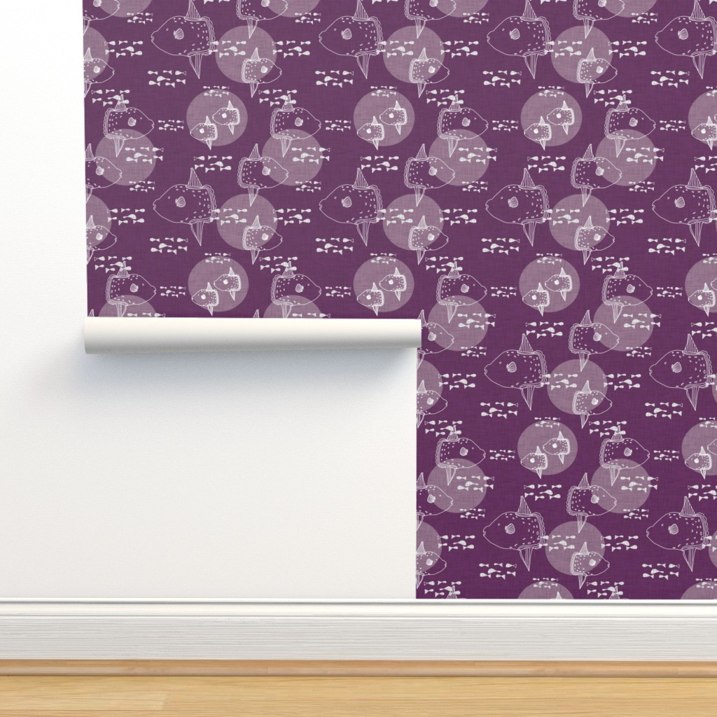 Isobar Durable Wallpaper featuring Mola Mola Purple-Ocean sunfish by bruxamagica