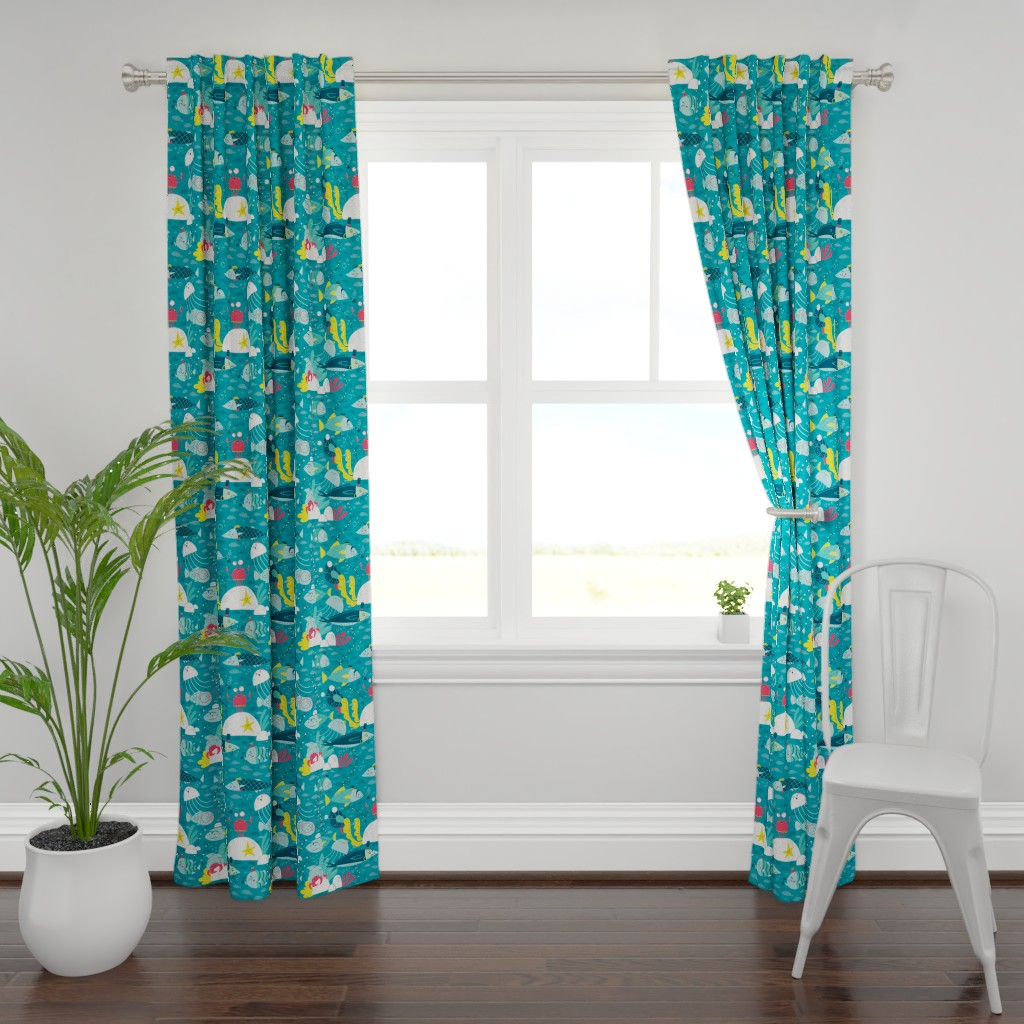 Plymouth Curtain Panel featuring fish faces by gnoppoletta