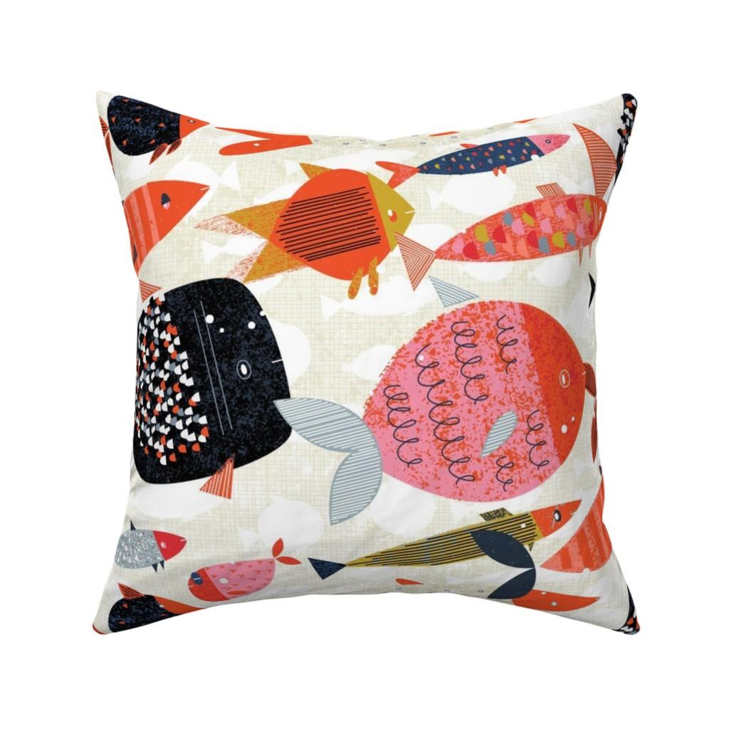 Catalan Throw Pillow featuring Marine Commute M+M Red by Friztin by friztin