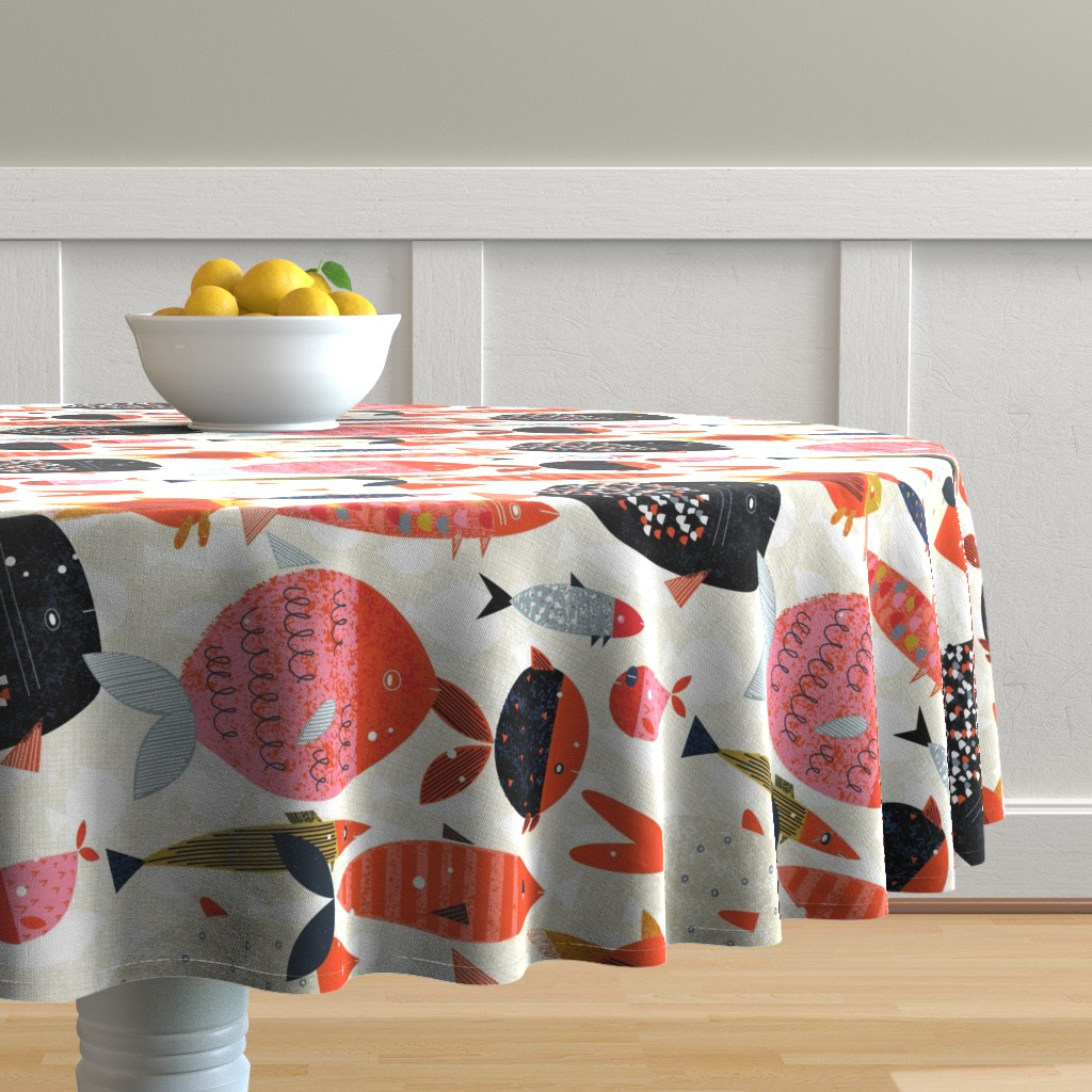 Malay Round Tablecloth featuring Marine Commute M+M Red by Friztin by friztin