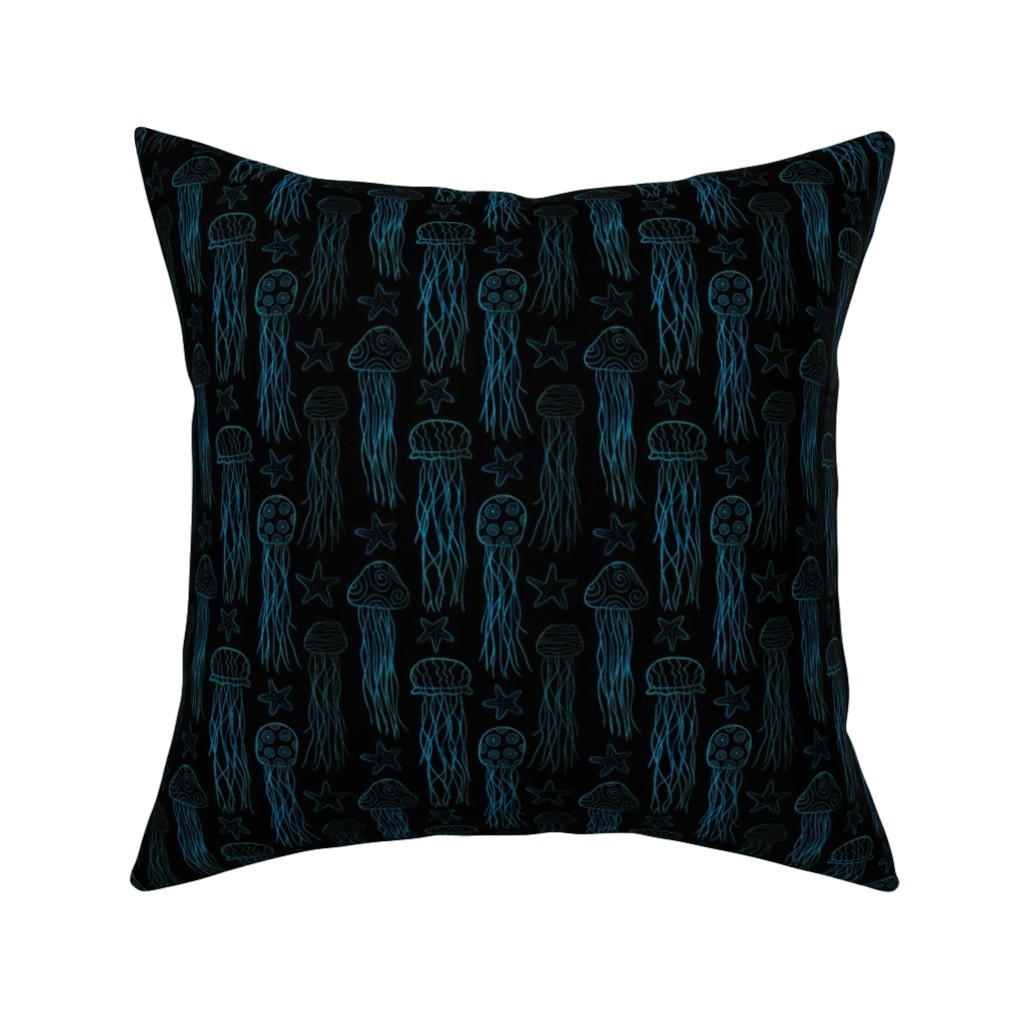 Catalan Throw Pillow featuring Jellyfish & Starfish Doodle by thewellingtonboot
