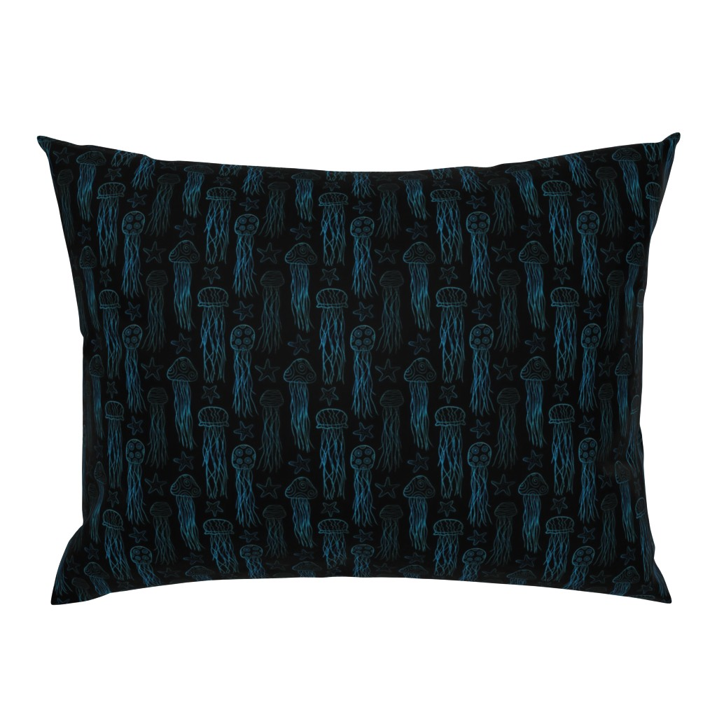 Campine Pillow Sham featuring Jellyfish & Starfish Doodle by thewellingtonboot
