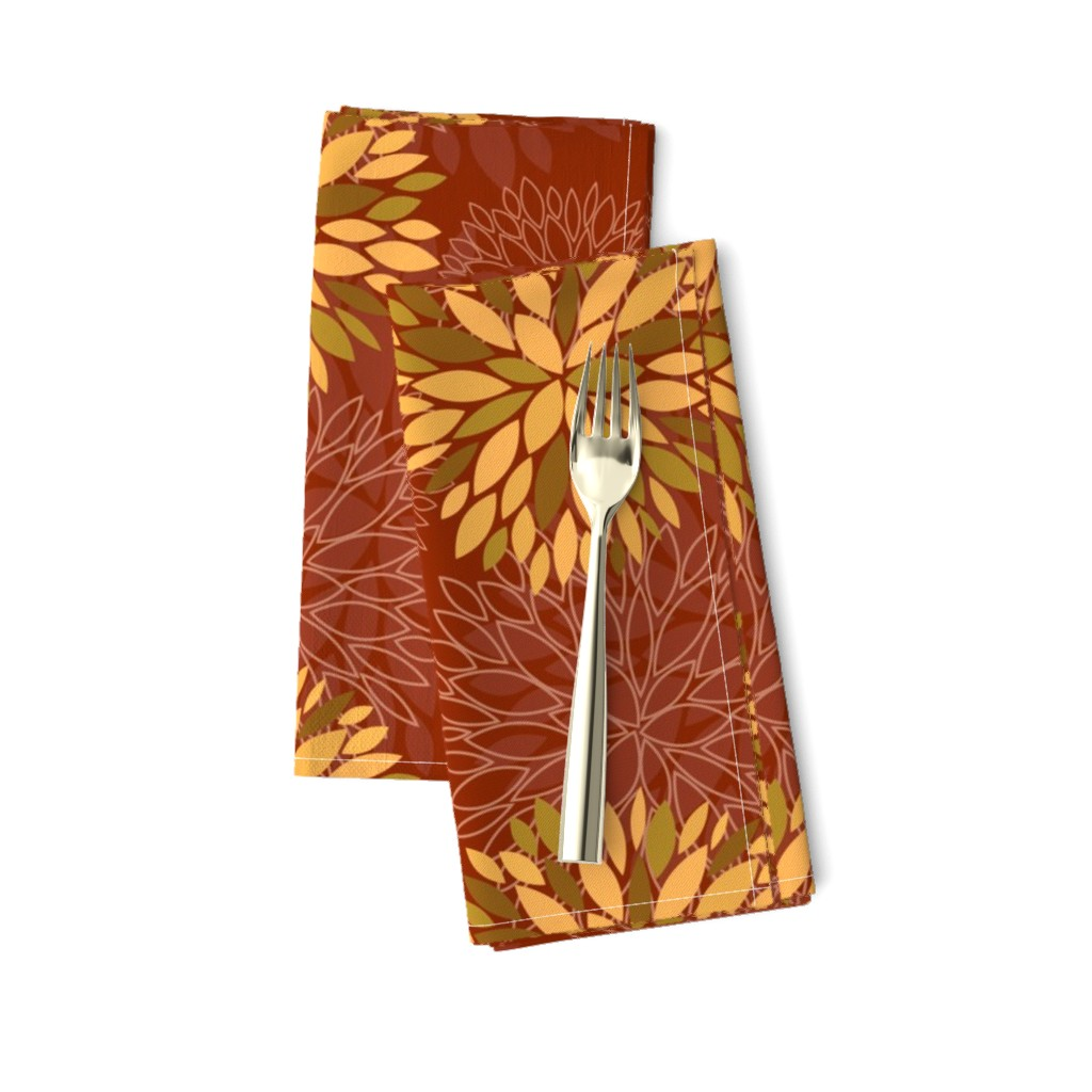 Amarela Dinner Napkins featuring Red and Orange Autumn flowers pattern by nadia_to_art