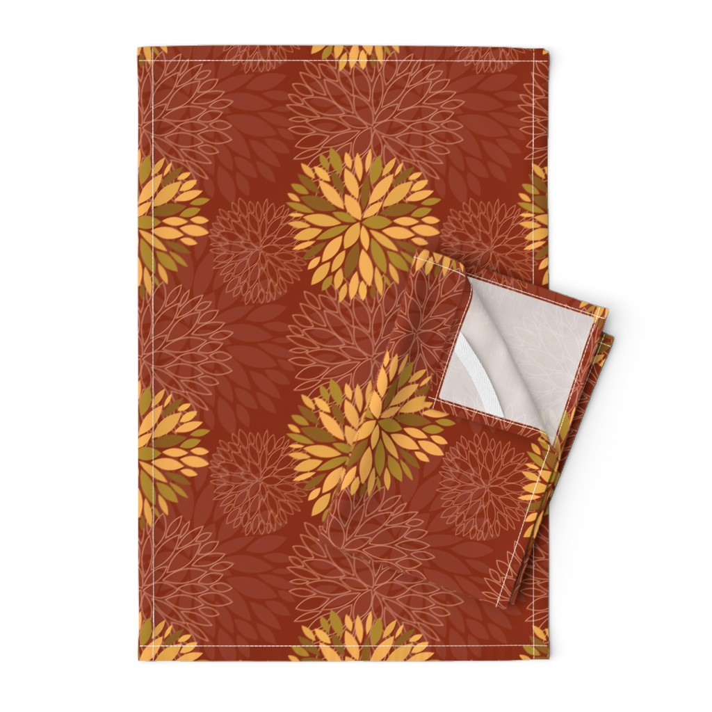 Orpington Tea Towels featuring Red and Orange Autumn flowers pattern by nadia_to_art