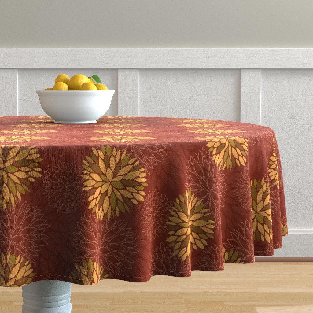 Malay Round Tablecloth featuring Red and Orange Autumn flowers pattern by nadia_to_art