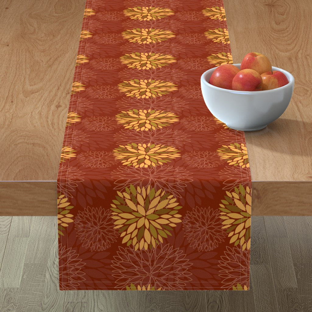 Minorca Table Runner featuring Red and Orange Autumn flowers pattern by nadia_to_art