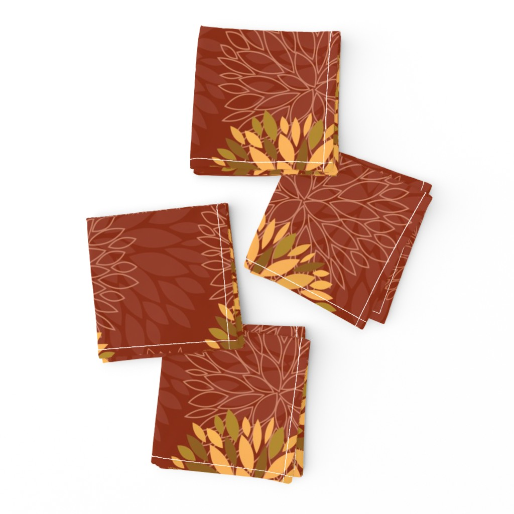 Frizzle Cocktail Napkins featuring Red and Orange Autumn flowers pattern by nadia_to_art