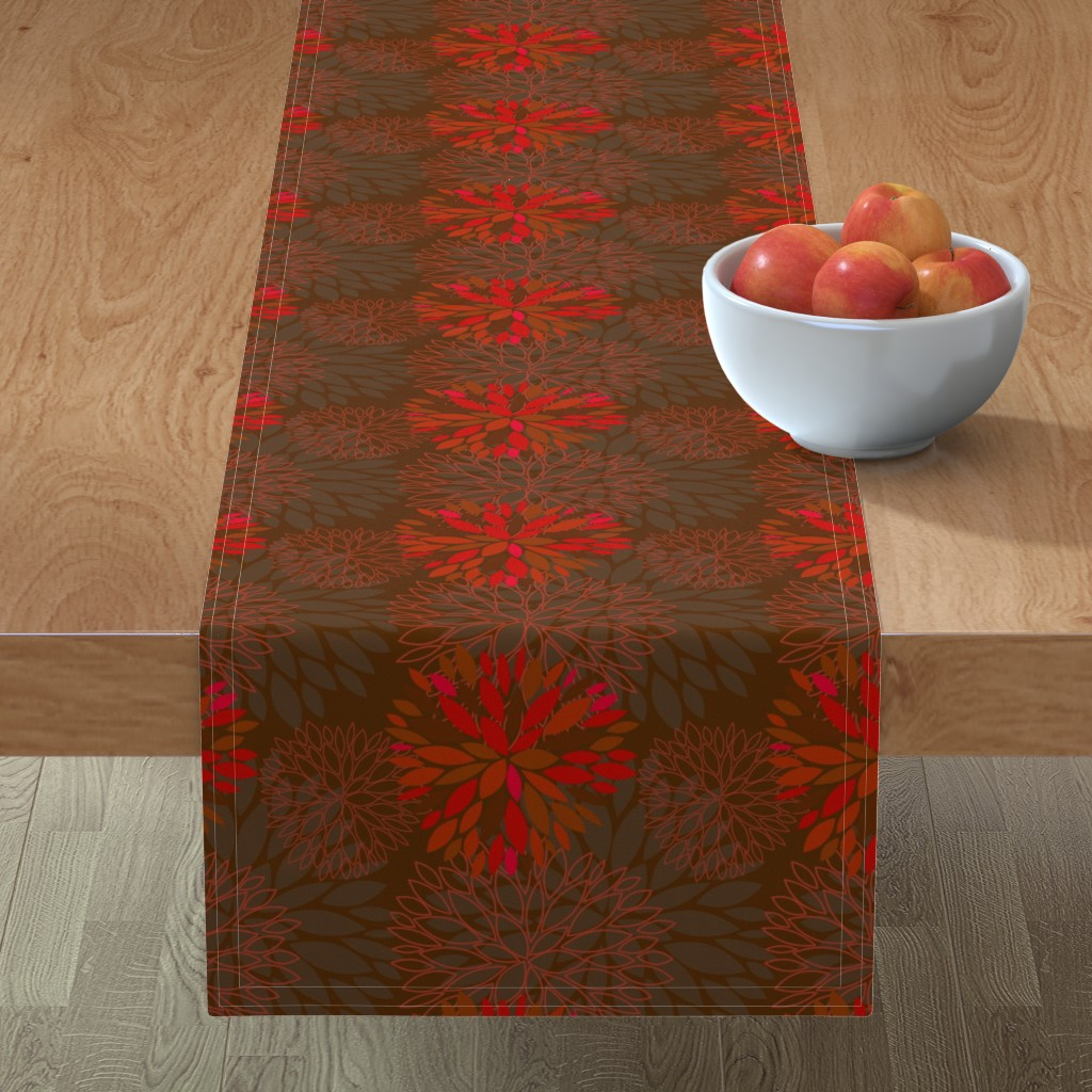 Minorca Table Runner featuring Red and Grey Autumn Flowers pattern by nadia_to_art