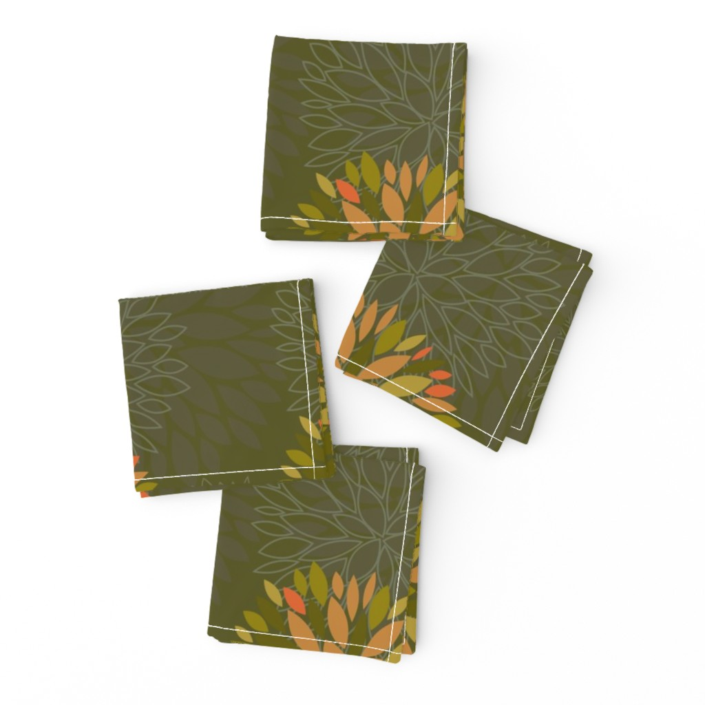 Frizzle Cocktail Napkins featuring Orange, Green and Brown Autumn flowers pattern by nadia_to_art
