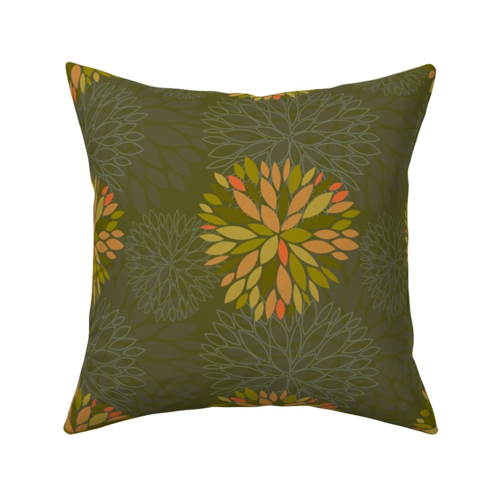 Catalan Throw Pillow featuring Orange, Green and Brown Autumn flowers pattern by nadia_to_art
