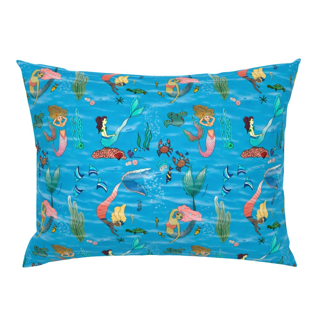 Campine Pillow Sham featuring Mermaids under the sea by stasiajahadi