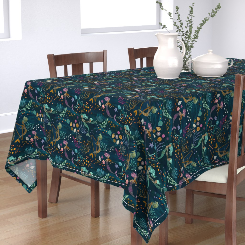 Bantam Rectangular Tablecloth featuring Mermaid Music by ceciliamok