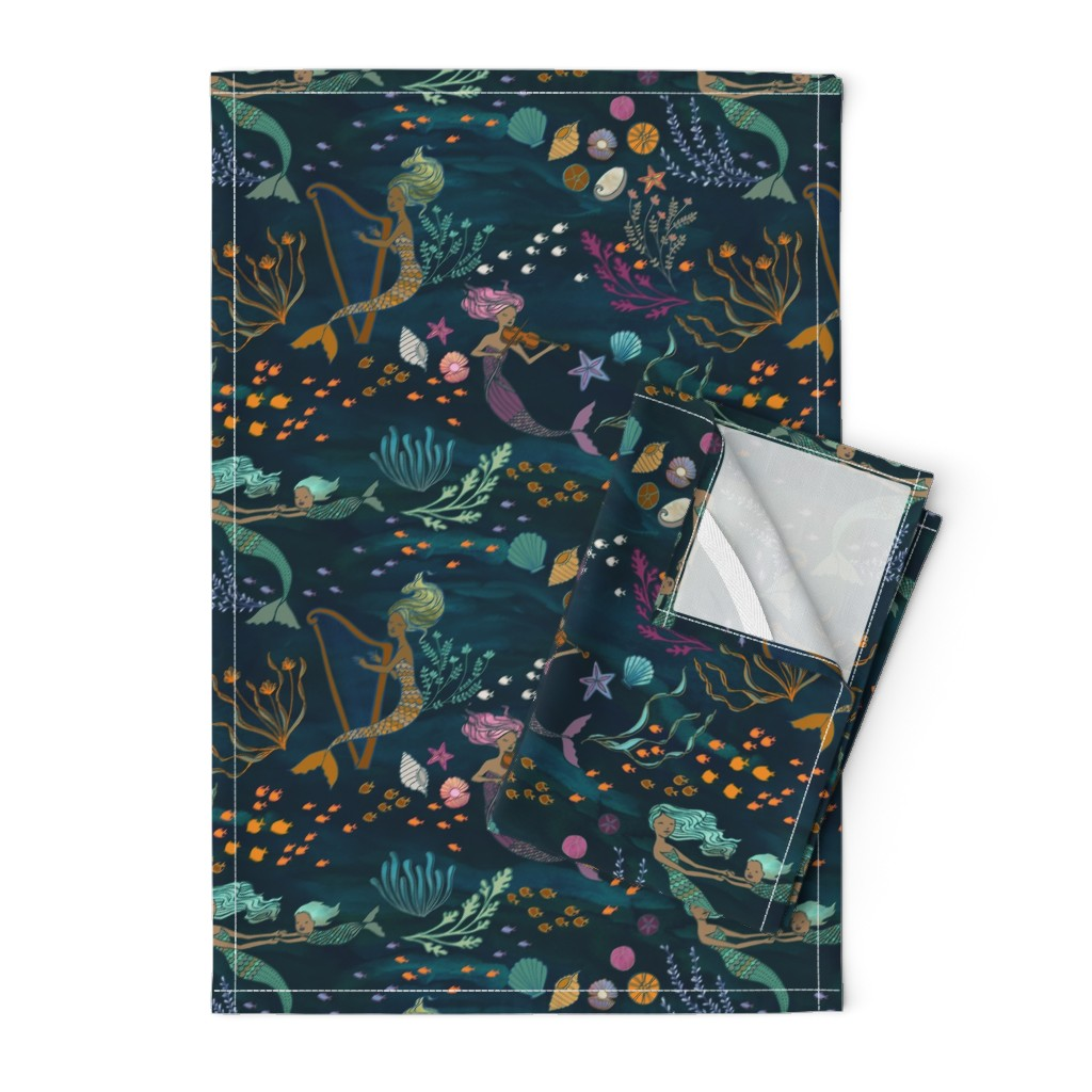 Orpington Tea Towels featuring Mermaid Music by ceciliamok