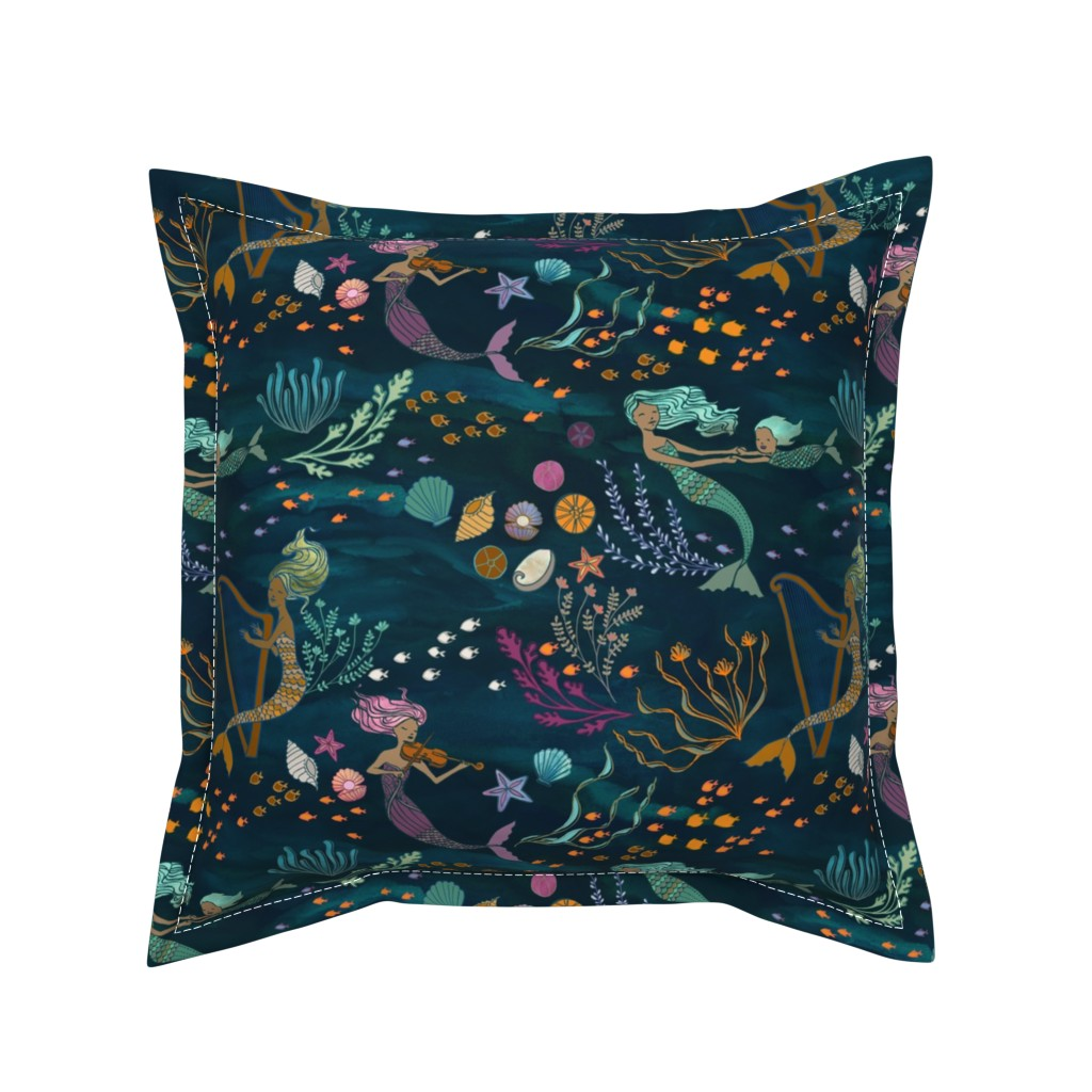 Serama Throw Pillow featuring Mermaid Music by ceciliamok