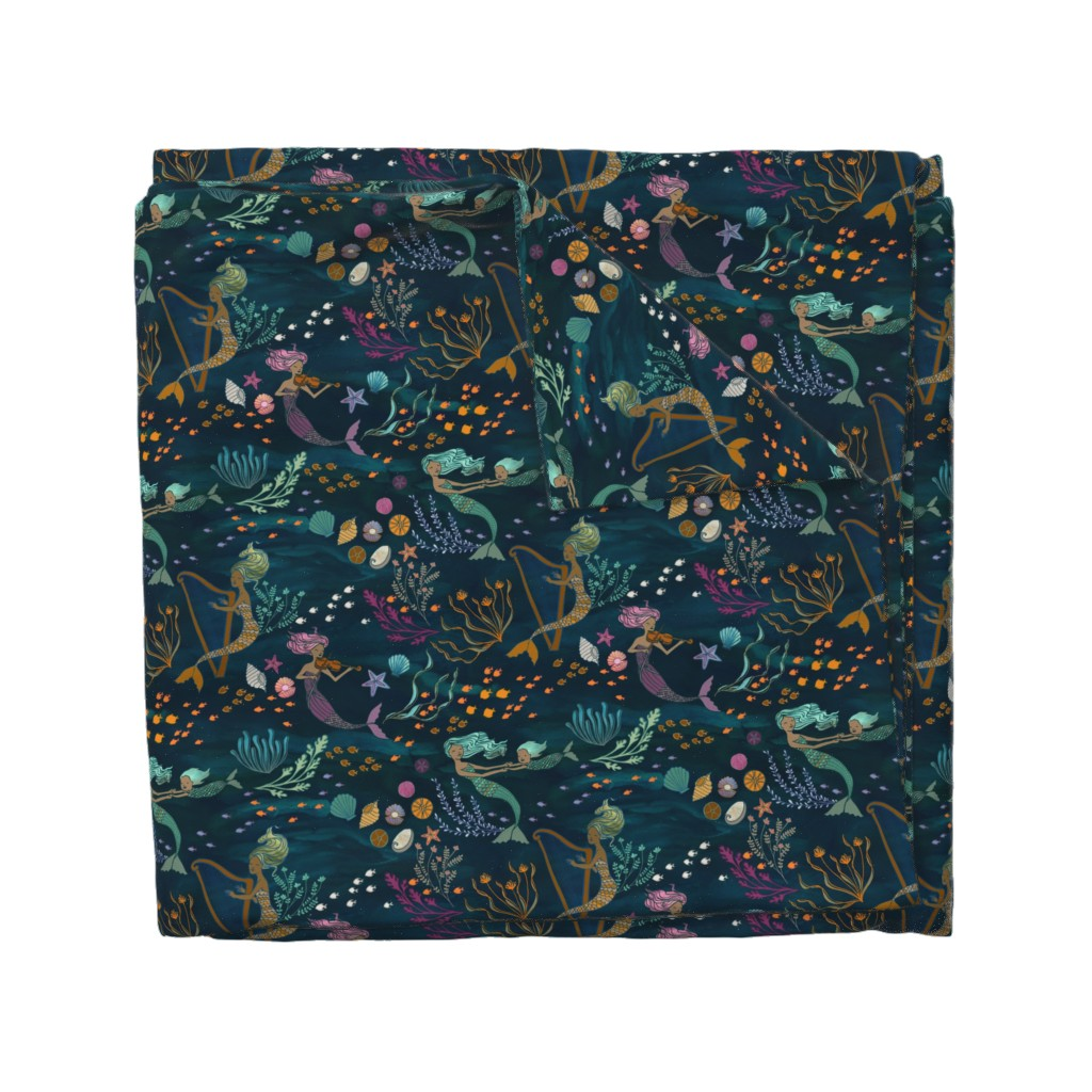 Wyandotte Duvet Cover featuring Mermaid Music by ceciliamok