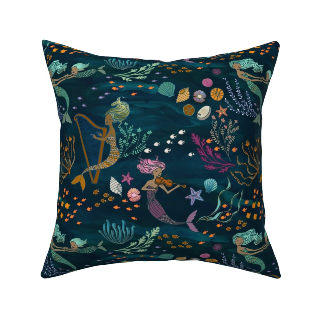 Catalan Throw Pillow featuring Mermaid Music by ceciliamok