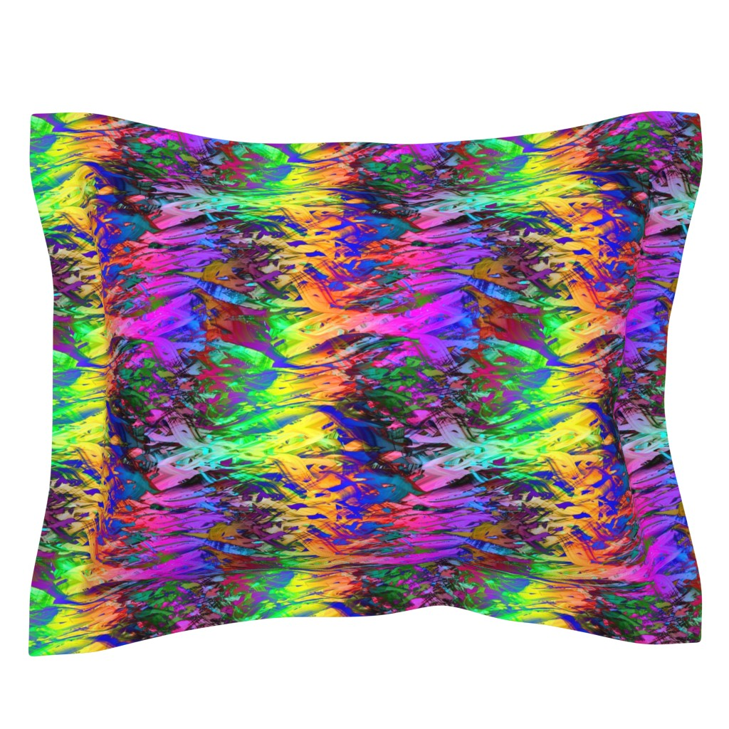 Sebright Pillow Sham featuring fishes spirit energy waves abstract sunset fuchsia purple orange by paysmage