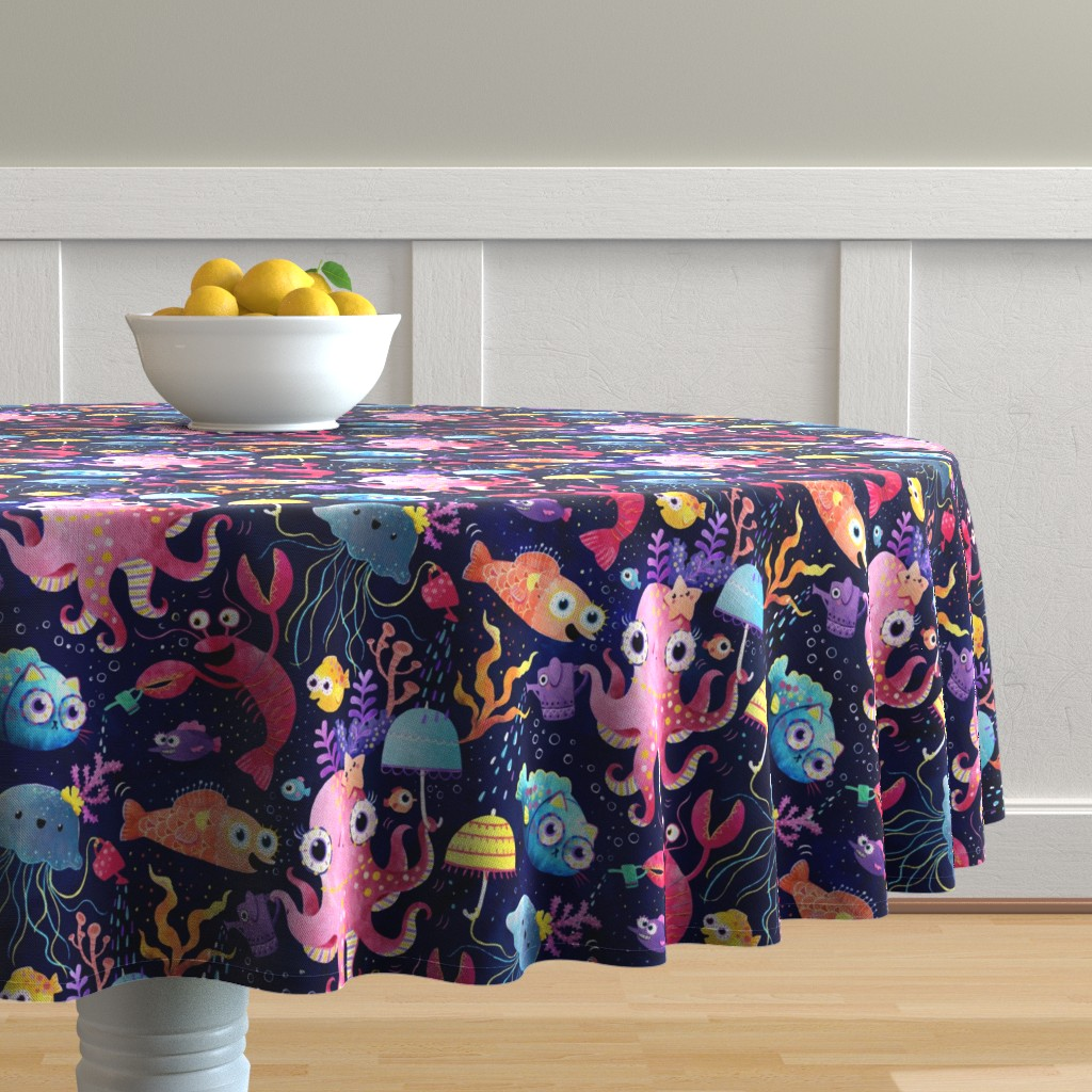 Malay Round Tablecloth featuring Underwater buzz by monika_suska