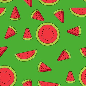 Watermelons Green Background