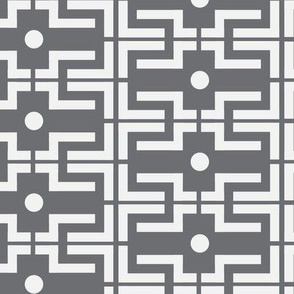 18-06G Gray grey bold large scale geometric abstract white _ miss chiff designs