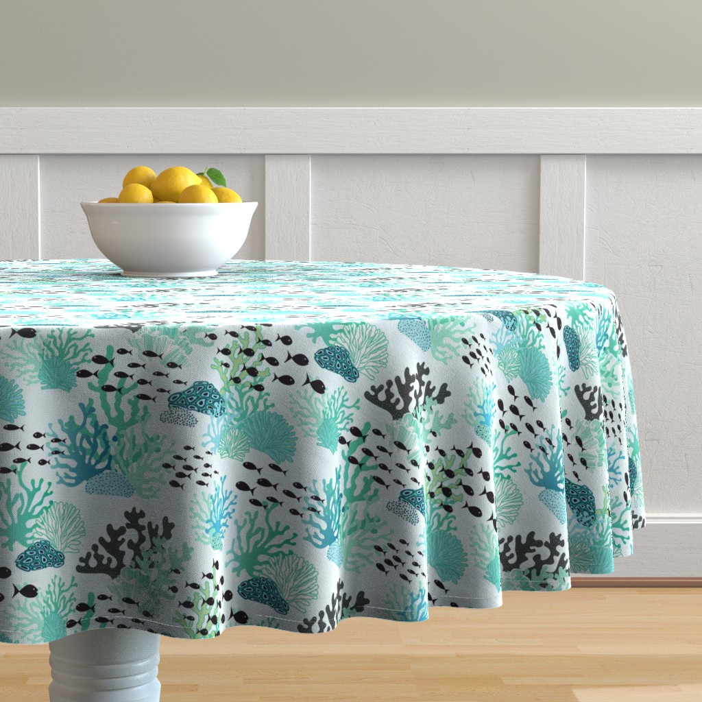 Malay Round Tablecloth featuring underwater world by vivdesign