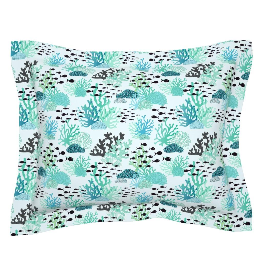 Sebright Pillow Sham featuring underwater world by vivdesign