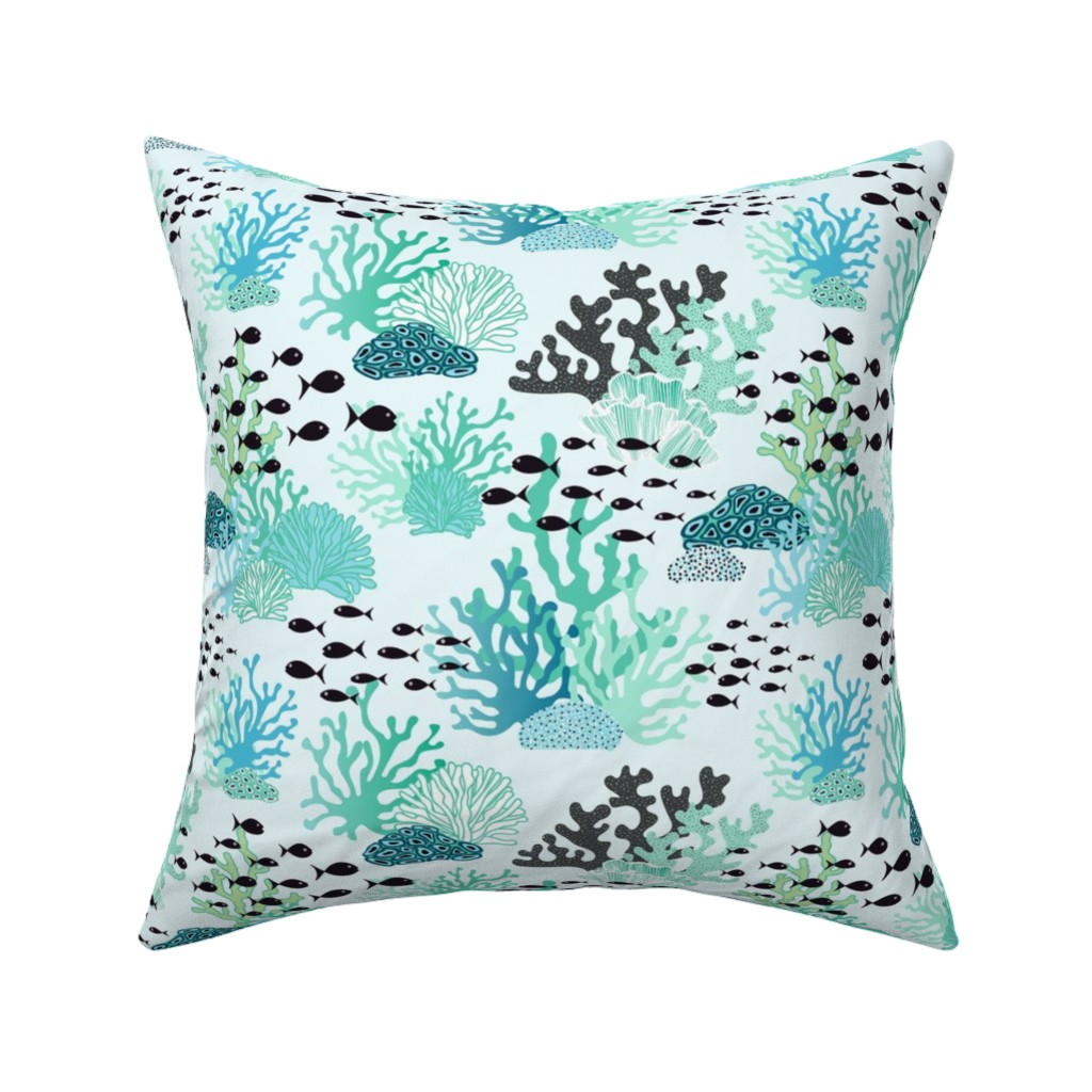 Catalan Throw Pillow featuring underwater world by vivdesign