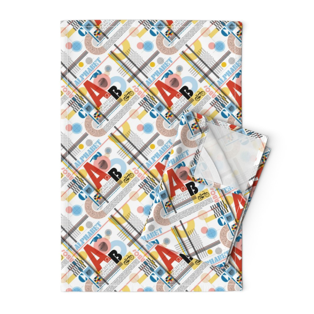 Orpington Tea Towels featuring ABC (Alphabetic Bauhaus Composition)* || primary colors typography geometric 20s 30s 1920s 1930s weimar circles check letters red yellow blue by pennycandy