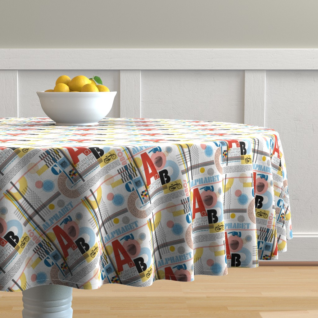 Malay Round Tablecloth featuring ABC (Alphabetic Bauhaus Composition)* || primary colors typography geometric 20s 30s 1920s 1930s weimar circles check letters red yellow blue by pennycandy
