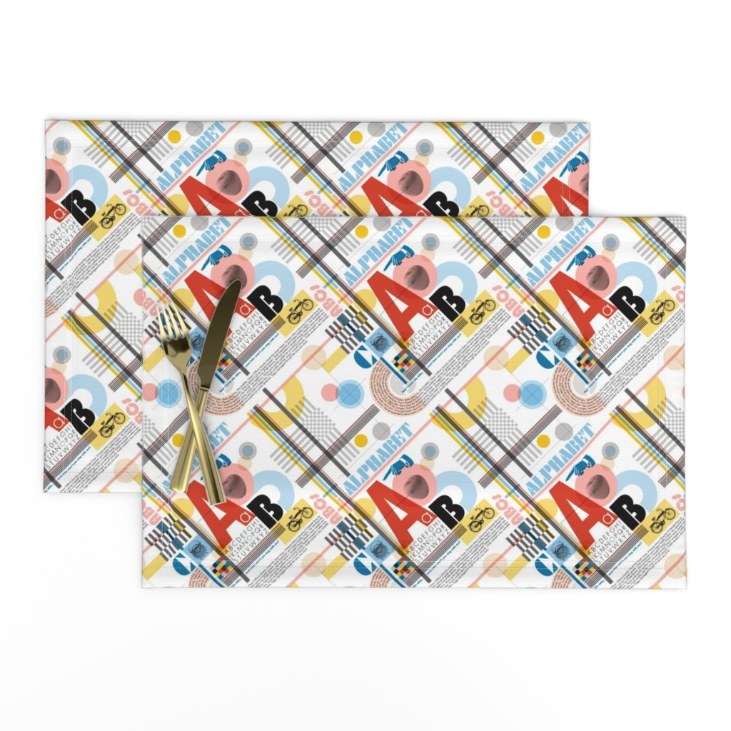 Lamona Cloth Placemats featuring ABC (Alphabetic Bauhaus Composition)* || primary colors typography geometric 20s 30s 1920s 1930s weimar circles check letters red yellow blue by pennycandy