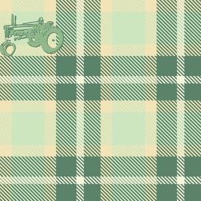 Vintage Farming Tractor Plaid