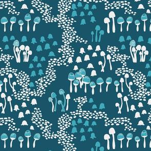 Fairy mushrooms - blue, large scale