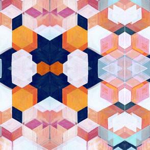 Modern Bauhaus Abstract Oil on Canvas in Pastels, Orange & Navy