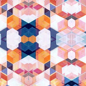 Modern Bauhaus Abstract Oil on Canvas in Blue, Pink & Orange