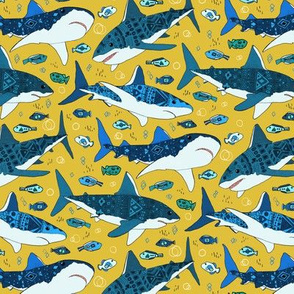 Sharks and Fish on Mustard - Small
