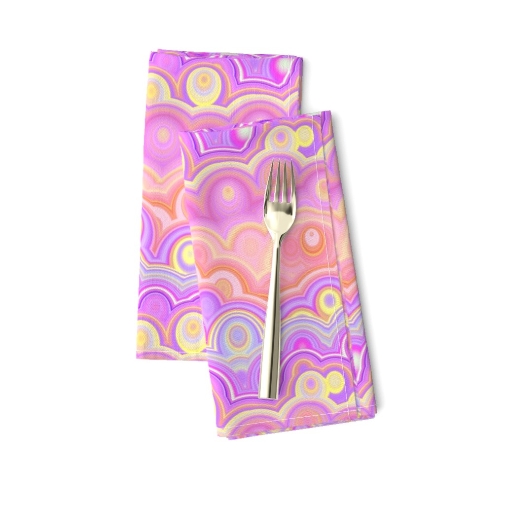 Amarela Dinner Napkins featuring large SUNRISE pink coral yellow clouds bubbles agate stripes by paysmage