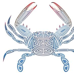 Tribal Blue Crab on White
