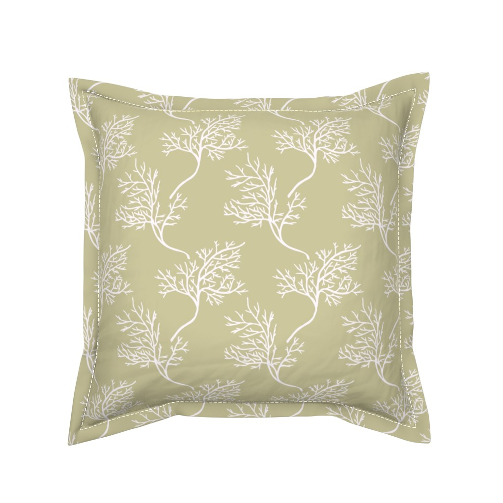 Serama Throw Pillow featuring Sea Fans on Sand by katie_hayes