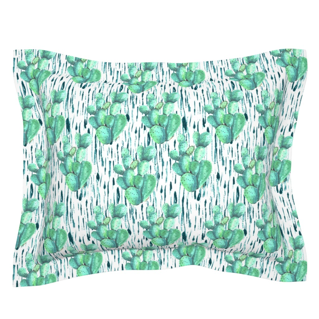 Sebright Pillow Sham featuring Cactus in the rain by fat_bird_designs