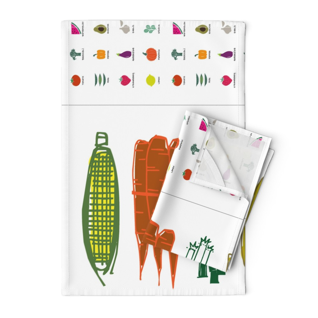 Orpington Tea Towels featuring Eat your Fruits and Veggies Dish Towels by outside_the_line