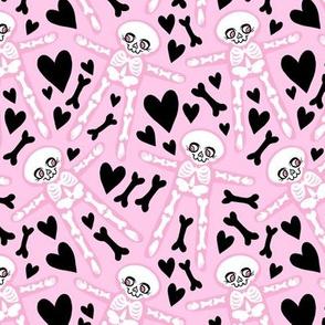 Skellies - pink on pink with black hearts bones