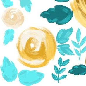 Yellow and Teal Modern Rose Florals