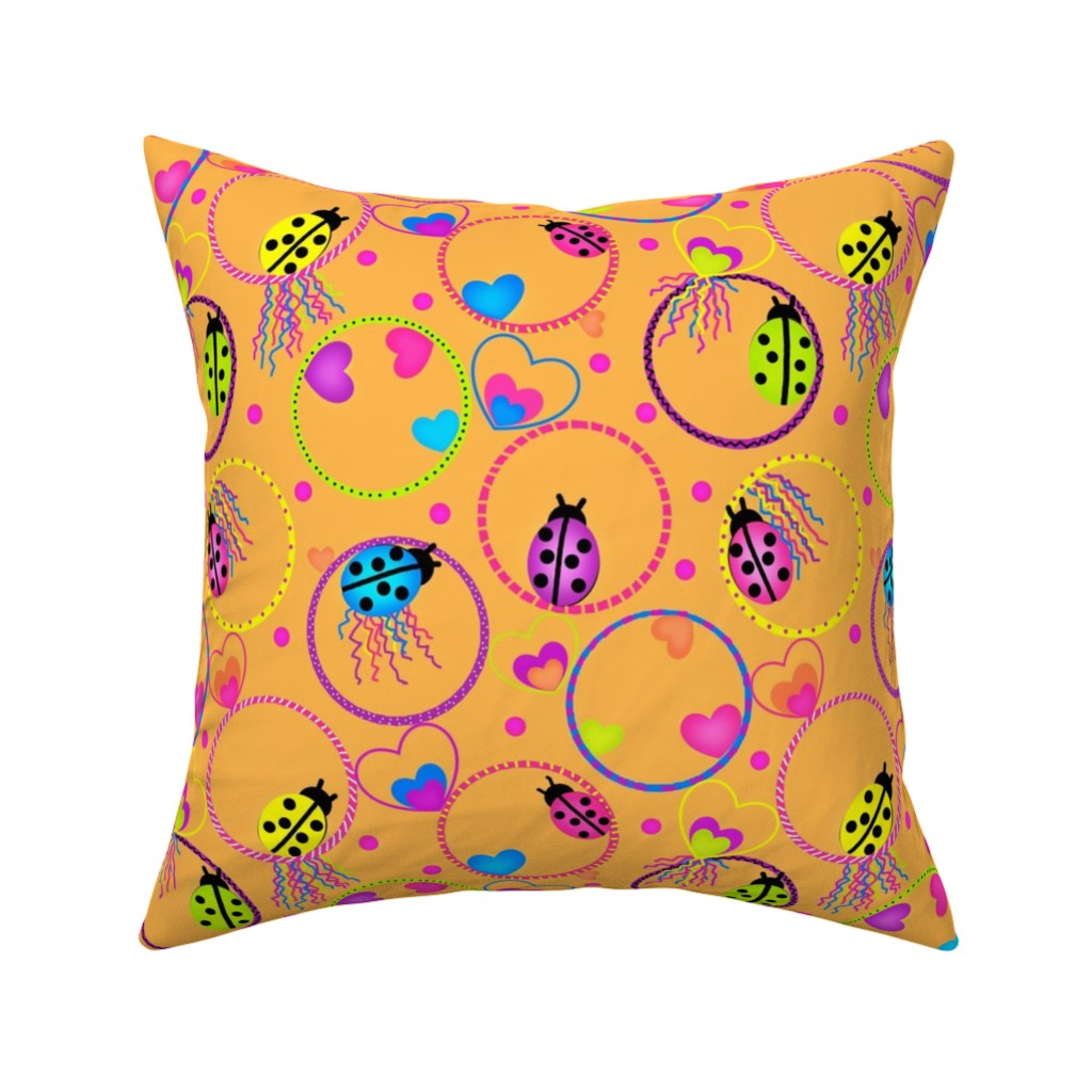 Catalan Throw Pillow featuring Ladybug Hula-Hoop Jubilee by franbail