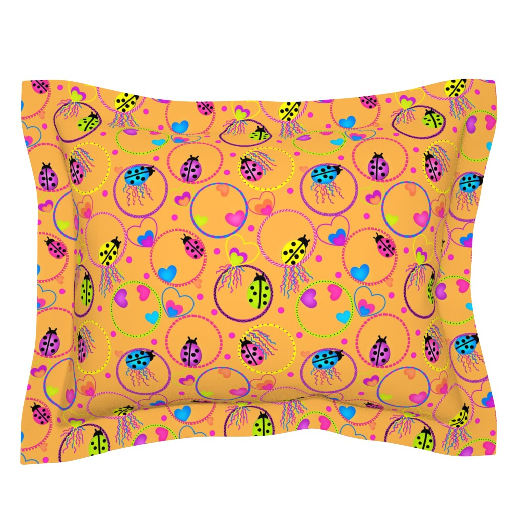 Sebright Pillow Sham featuring Ladybug Hula-Hoop Jubilee by franbail