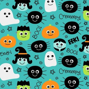halloween cuties on teal blue