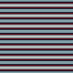Dark Blue Red and Beige Stripes on Blue
