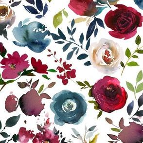 wine and indigo floral