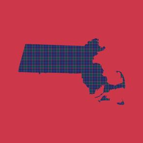 """Massachusetts silhouettes - 21x18"""" tartan on red"""